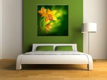 Tableau déco fleurs orchidée jaune