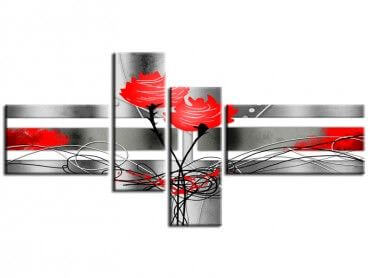 Tableau peinture moderne rose