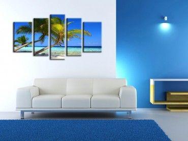 Tableau déco bleu île paradisiaque