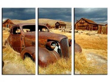 Tableau moderne voiture ancienne champ de blé