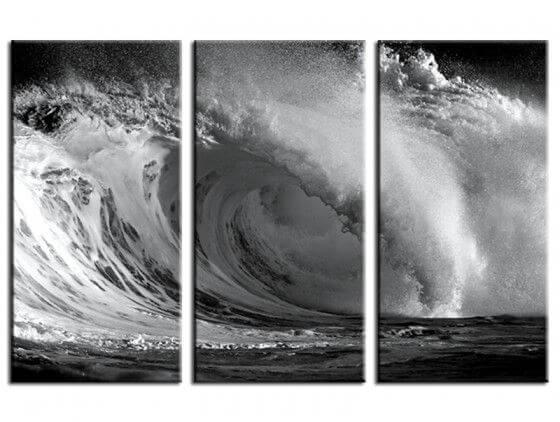 Tableau noir et blanc giant wave