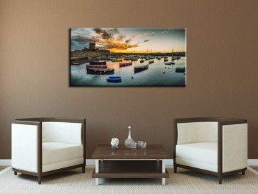 Tableau photo coucher de soleil sur le port de socoa