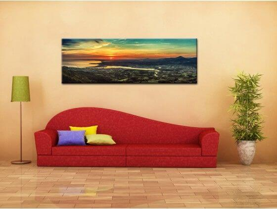 Tableau panoramique coucher de soleil Pays Basque