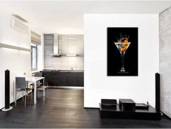 Tableau mural verre de cocktail d coration cuisine hexoa for Decoration murale tableau quebec