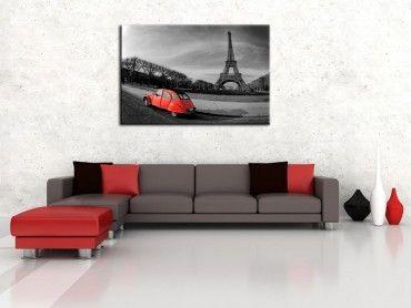 Tableau design Tour Eiffel et 2cv rouge