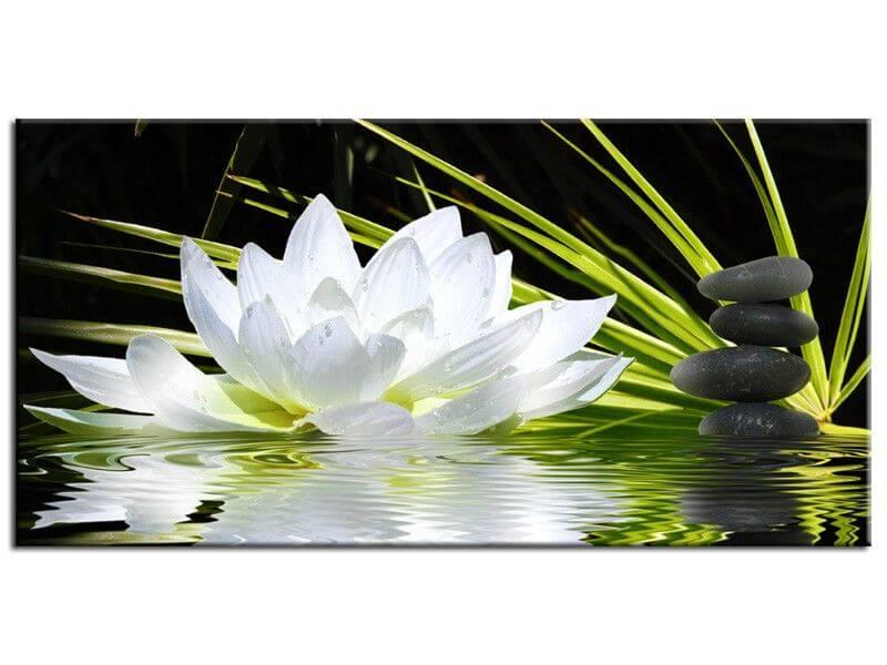 Tableau zen lotus et galets moderne achat d co zen originale for Achat galet blanc