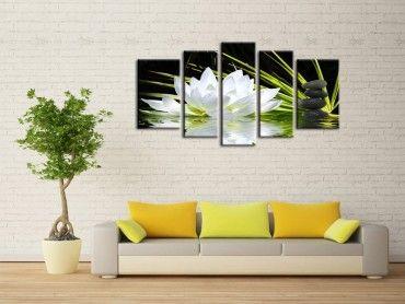 Tableau design fleur de lotus et galets