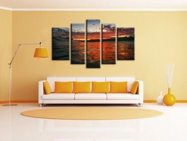 Tableau deco surf vague au sunset