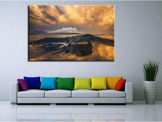 Tableau moderne photo paysage belle vague hexoa - Decoration murale tableau ...
