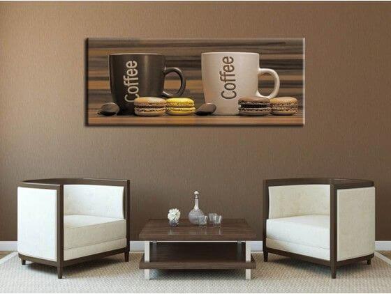 tableau cuisine caf et macarons pas cher hexoa. Black Bedroom Furniture Sets. Home Design Ideas