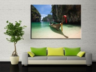 Tableau paysage Hong island boat