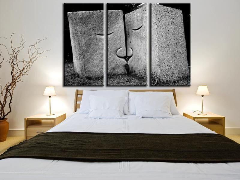 tableau noir et blanc abstrait d coration murale hexoa. Black Bedroom Furniture Sets. Home Design Ideas