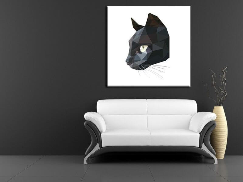 tableau deco chat noir low poly d coration murale. Black Bedroom Furniture Sets. Home Design Ideas