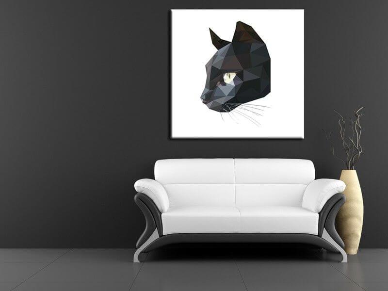 tableau deco chat noir low poly d coration murale. Black Bedroom Furniture Sets. Home Design Ideas
