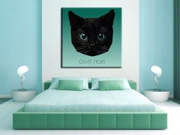 Tableau deco chat aux yeux émeraude