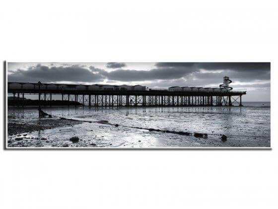 Tableau paysage ponton en noir et blanc