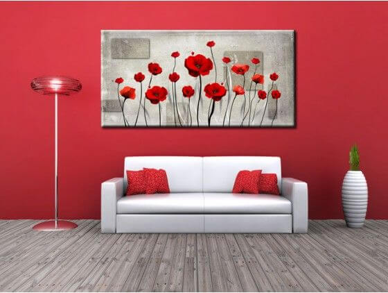 tableau fleurs coquelicots rouges en toile alu plexi. Black Bedroom Furniture Sets. Home Design Ideas