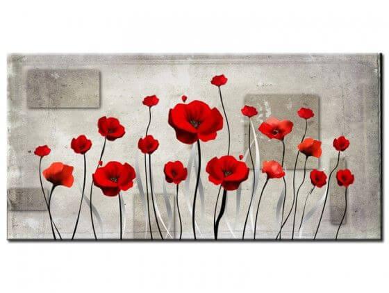 Tableau fleurs moderne coquelicots rouges
