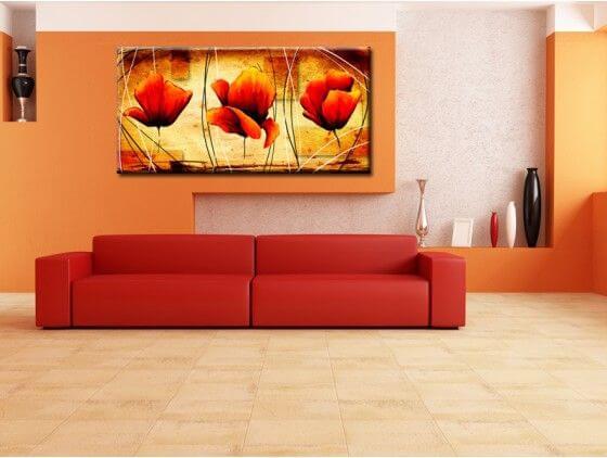 Tableau moderne fleurs orang es petit prix boutique hexoa for Tableau de decoration moderne
