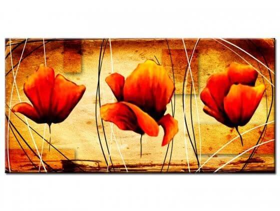 Tableau déco fleurs orangées modernes