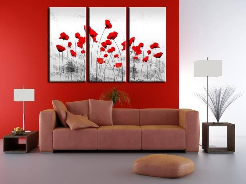 Tableau contemporain fleurs coquelicots prix r duit sur - Tableau triptyque contemporain ...