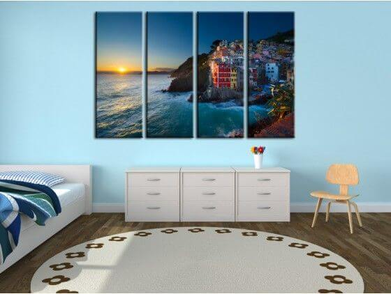 tableau photo de paysage cinq terre en italie sur toile. Black Bedroom Furniture Sets. Home Design Ideas