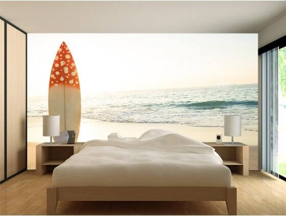 Papier peint trompe l'oeil planche de surf