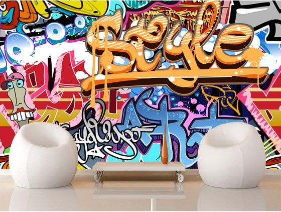 papier peint street art d co graffiti en intiss ou adh sif pas cher. Black Bedroom Furniture Sets. Home Design Ideas