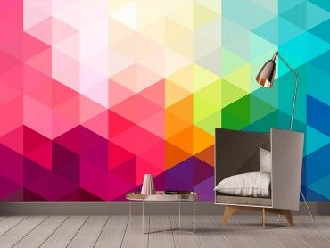 papier peint graphique noir et blanc triangles pas cher boutique hexoa. Black Bedroom Furniture Sets. Home Design Ideas