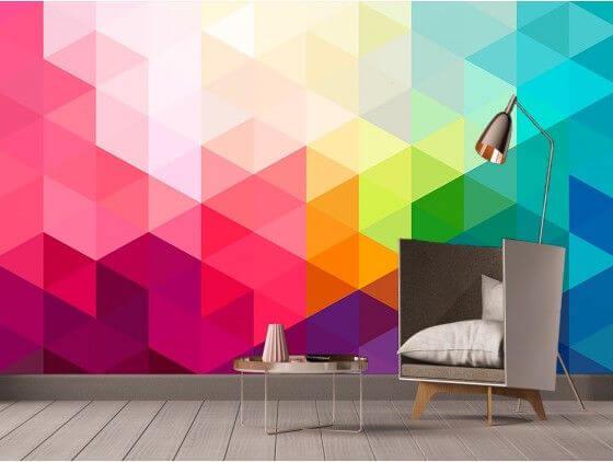 Papier peint motifs géométriques lumineux