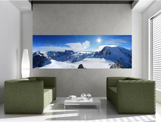 papier peint montagne mont blanc enneig pour salon pas cher. Black Bedroom Furniture Sets. Home Design Ideas