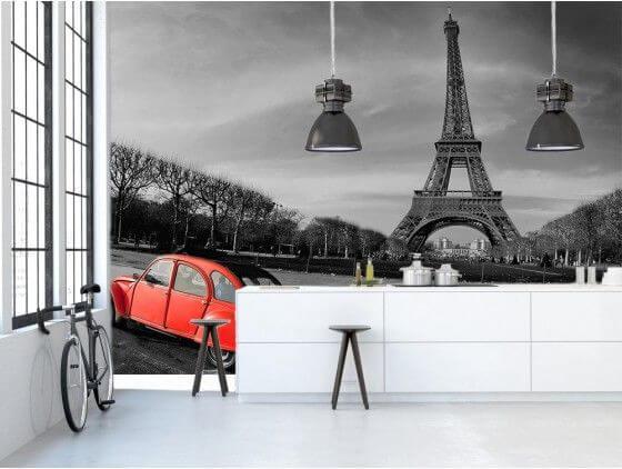Papier peint Tour Eiffel et 2cv rouge