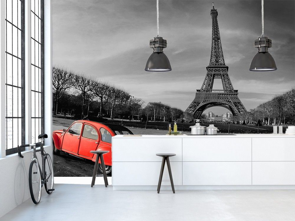 Papier Peint Paris Tour Eiffel noir et blanc pas cher   Déco murale