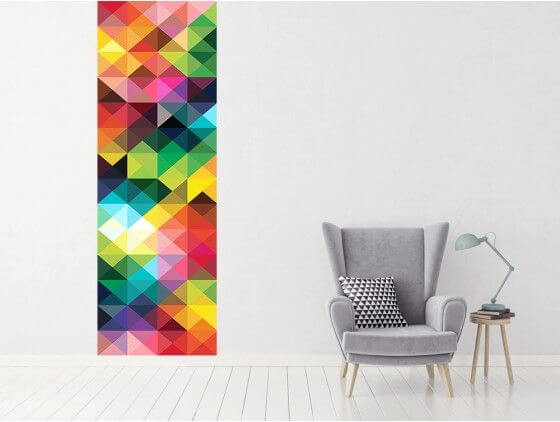 papier peint graphique triangles en relief pas cher hexoa. Black Bedroom Furniture Sets. Home Design Ideas