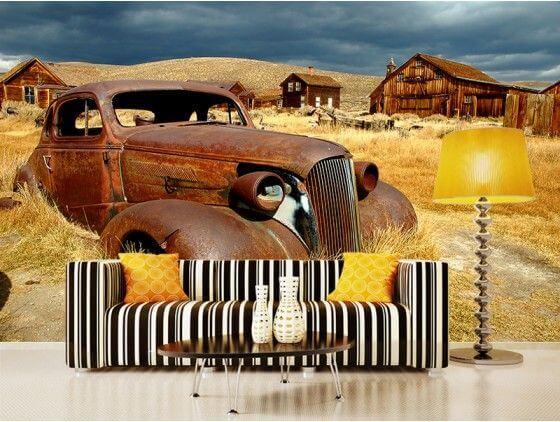 Papier peint vieille voiture champ de blé