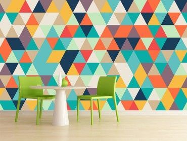 Papier peint scandinave triangles colorés