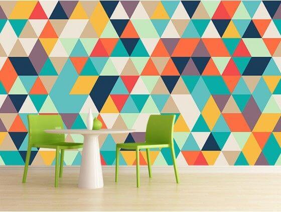 Papier peint scandinave triangles colorés