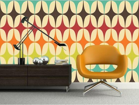 Papier peint graphique losanges multicolores
