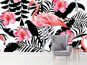 Papier peint flamant rose forêt tropicale
