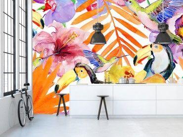 Papier peint jungle tropicale pélicans
