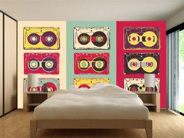 Papier peint vintage cassettes audio