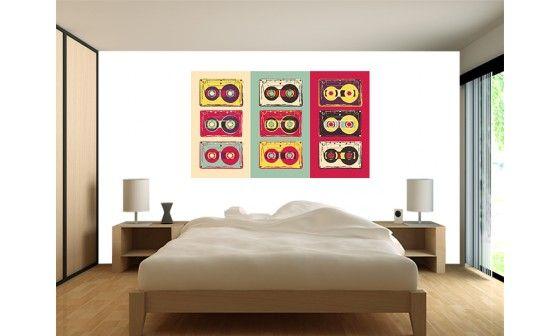 papier peint vintage xxl d co cassettes audio pas cher. Black Bedroom Furniture Sets. Home Design Ideas