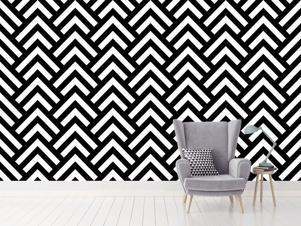Papier Peint Graphique Noir Et Blanc Triangles Pas Cher   Boutique Hexoa