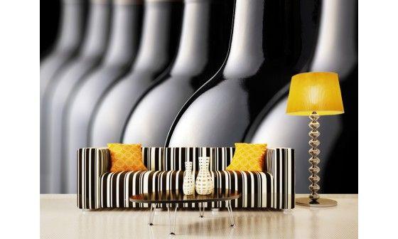 papier peint moderne bouteilles de vin adh sif ou intiss pas cher. Black Bedroom Furniture Sets. Home Design Ideas
