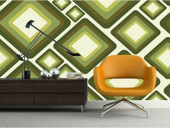 Papier peint design abstrait losanges verts