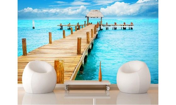 papier peint mer paradisiaque isla mujeres mexique pas cher hexoa. Black Bedroom Furniture Sets. Home Design Ideas