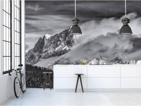 Papier peint deco paysage montagne Jarjatte