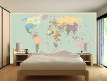 Papier peint décoration planisphère