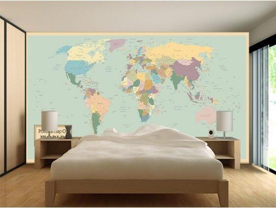 Papier peint planisphère en intissé ou adhésif   Décoration murale