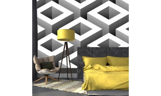 poster mural abstrait cubes noir et blanc petit prix d co design. Black Bedroom Furniture Sets. Home Design Ideas